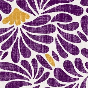 large water flower splash in burgundy and gold on linen