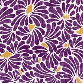 medium water flower splash in burgundy and gold on linen
