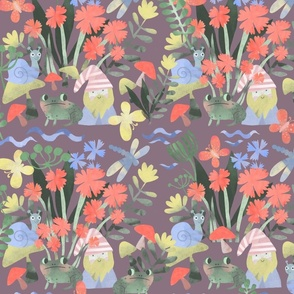 spring cute gnome with a frog among flowers