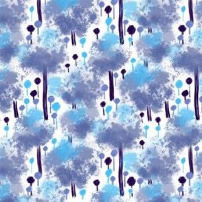 Blue Cotton Cloud Trees