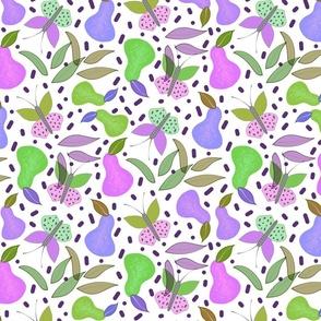 Retro Fruity Garden (Abstract) #4 - white, medium