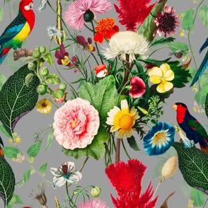 Tropical,vintage,exotic,summer,birds,flowers,parrots