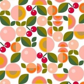 Stone Fruit || peach nectarine apricot cherry cherries leaves nature food coral mustard geometric abstract