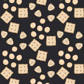 Crackers on charcoal