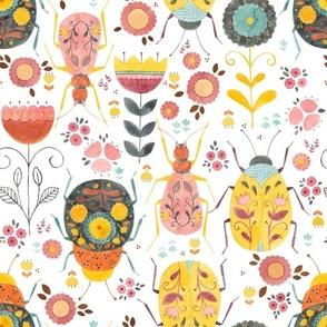 Folk bugs in retro colours