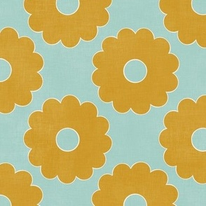 """Groovy Gold Flowers (mint) 10"""""""