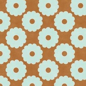 "Groovy Mint Flowers (rust-bronze) 6"""