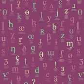 IPA characters and descriptions - large size, green, pink and gold on red-violet