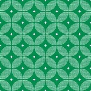 Green Atomic Retro flower geometric circle pattern fabric and wallpaper