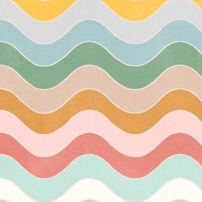 Groovy Pastel Rainbow Waves XL
