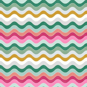 Groovy Waves (coral - raspberry - pink sorbet - mustard - mint - emerald - silver))
