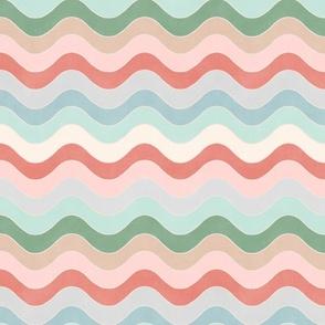 "Groovy Waves (jade - malibu - mint - coral - pastel peach - beige) 12"""