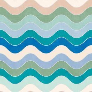 "Groovy Waves (peacock - french blue - jade - sky blue - mint) 18"""