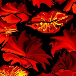 hot kisses, abstract art, red, fiery, black, hot autumn
