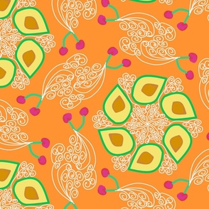 Neo Art Deco Stone Fruit Orange  trending current table runner tablecloth napkin placemat dining pillow duvet cover throw blanket curtain drape upholstery cushion duvet cover clothing shirt wallpaper fabric living home decor