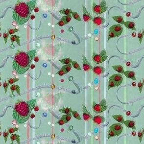 Tiny Size Raspberries and Ribbons on Seafoam Green