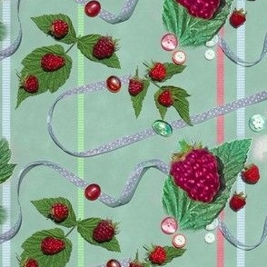 Raspberries and Ribbons with Buttons and Glass Stones