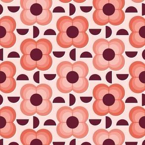 Geometric Plum and Cherry Flowers