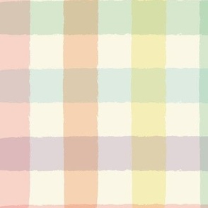 Pastel Rainbow Gingham on Cream - Large Scale