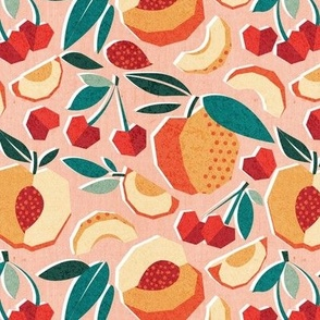 Small scale // Sweet as a peach pretty as a cherry // rose background geometric paper cut peaches and cherries
