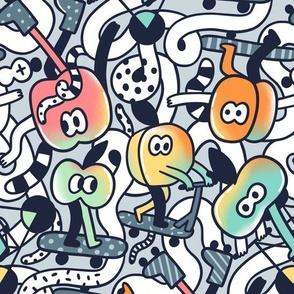 Stone fruits skateboards doodles