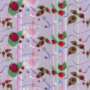 Tiny Size Raspberries and Ribbons on Lavender Background