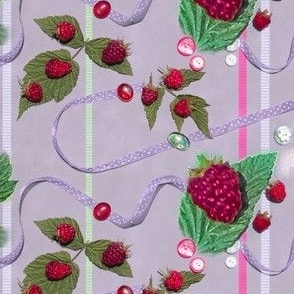 Red Raspberries and Ribbons on Lavender Background