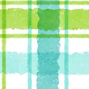 Watercolor Christmas Plaid - Blue Green