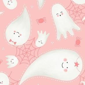 Cute Pastel Pink Halloween Ghosts