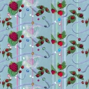 Tiny Size Raspberries and Ribbons on Powdery Blue Background
