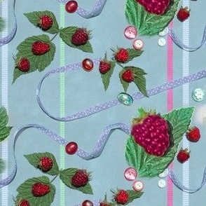 Red Raspberries and Ribbons on Powdery Blue Background