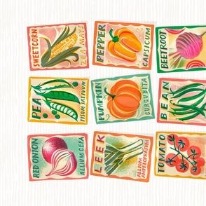 Tea towel / Vegetable seed packet / ivory
