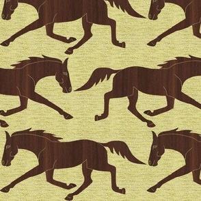 Trotting Walnut Wood Horses on Yellow