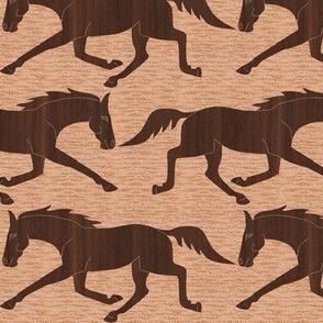 Trotting Walnut Wood Horses on Pink