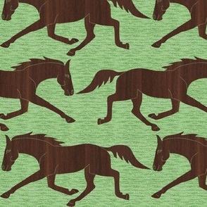 Trotting Walnut Wood Horses on Green