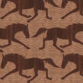 Trotting Walnut Wood Horses on  Brown