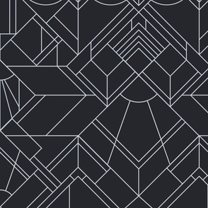 art deco neutral wallpaper - silver