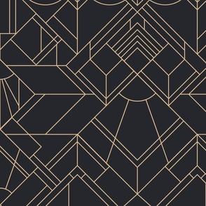 Art deco neutral wallpaper - gold