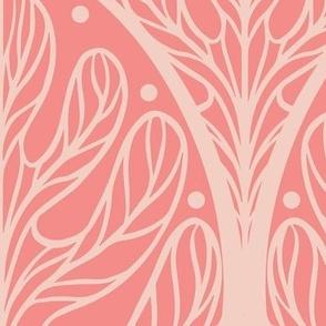 Art Deco Autumn Oak Leaf in Rose - Extra Large