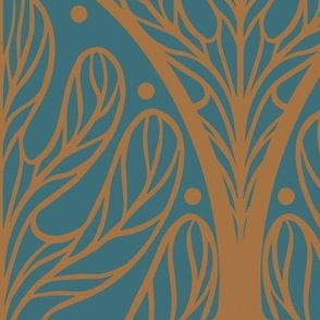 Art Deco Autumn Oak Leaf in Blue and Gold - Extra Large