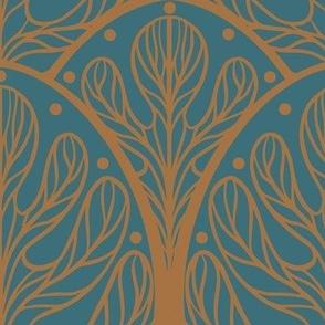 Art Deco Autumn Oak Leaf in Blue and Gold - Large