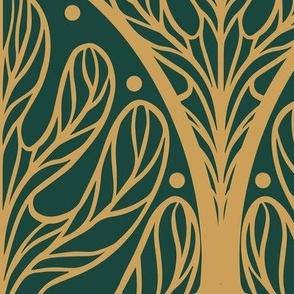 Art Deco Autumn Oak Leaf in Green and Gold - Extra Large