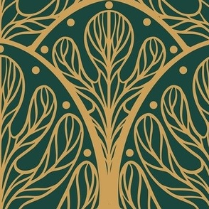 Art Deco Autumn Oak Leaf in Green and Gold - Large