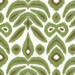 Green and Brown on Cream Bloom Ikat