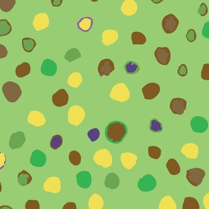 large //  bright green with watercolour dots