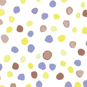 large // brown blue watercolour dots on ivory
