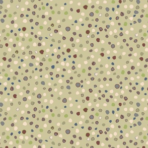 small // olive green with multi coloured watercolour dots