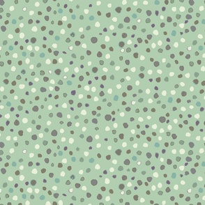 small //  pale green with brown and ivory watercolour dots