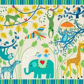 Identify the jungle animals playmat
