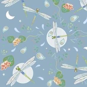 Retro Dragonflies Over Blue Pond